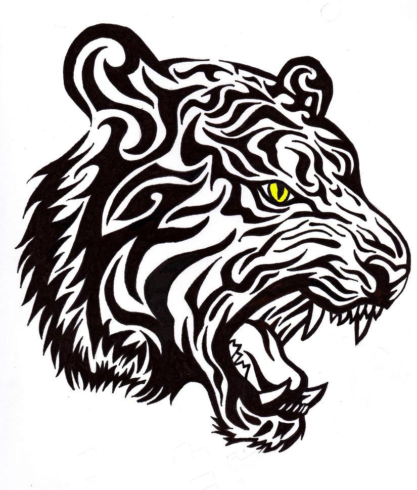 Tribal Tiger Tattoo by BathedInSin