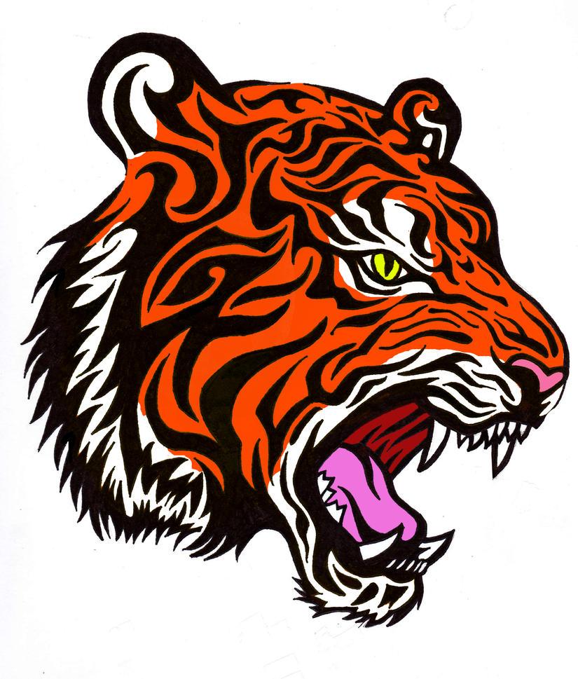 Color Tiger Tattoo Design by BathedInSin on DeviantArt