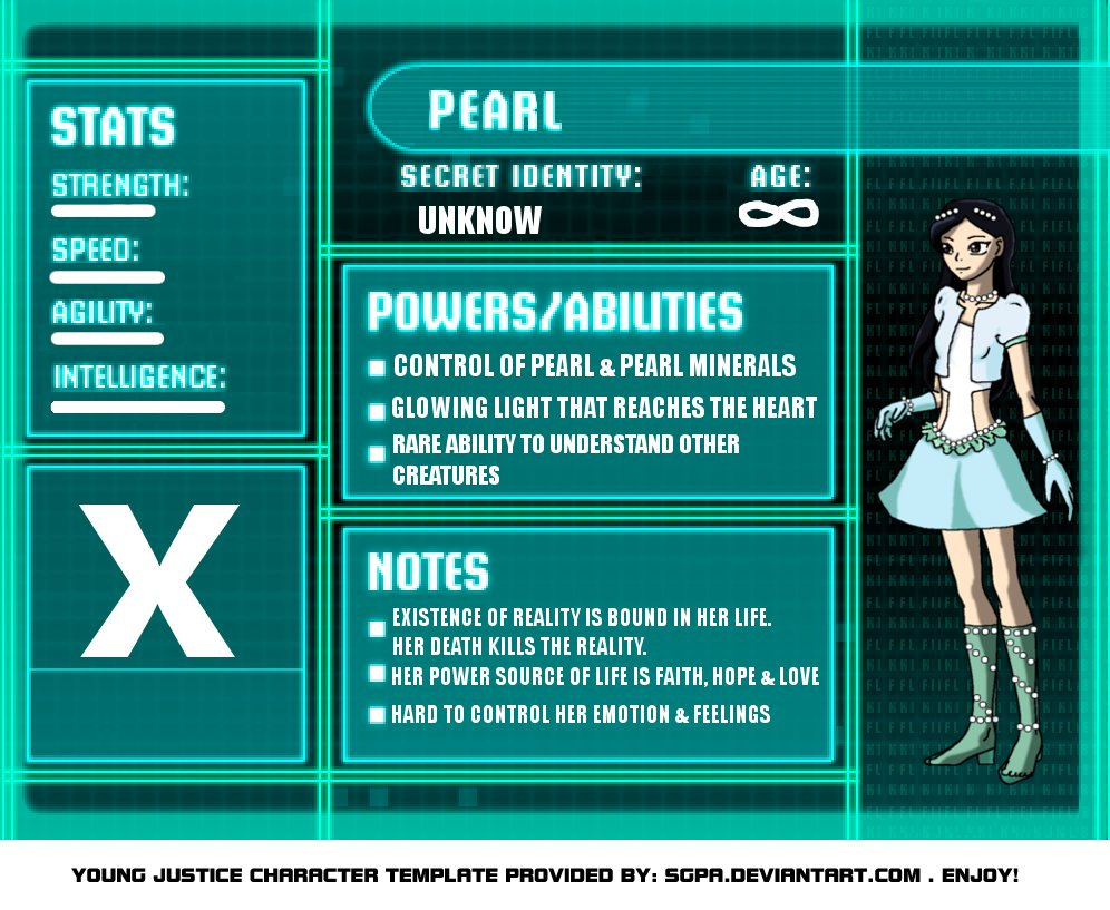 Young Justice Bios Template Pearl by straighteye onYoung Justice Season 3 Character Bios