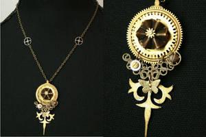 Phalerate clockwork necklace by PinkHazard