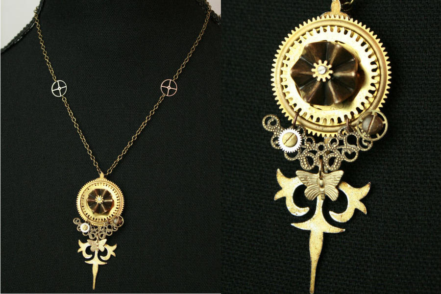 clockwork watch gold like lily jewelry boutique pendant clock necklace cute