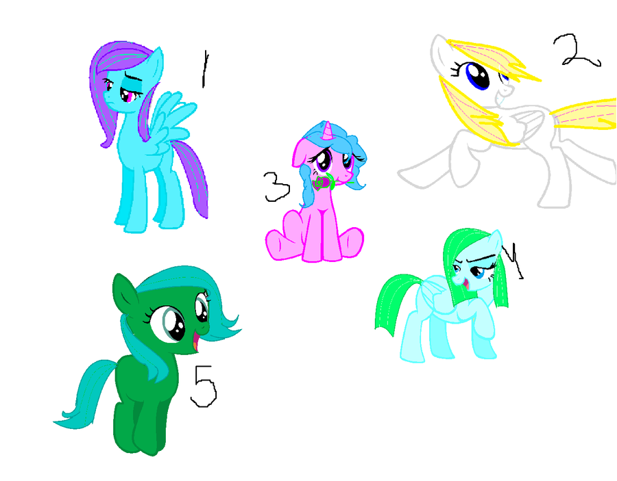 MLP adoptables sheet1: 5 pts each 4 OPEN! by xXxMLP-FiMxXx