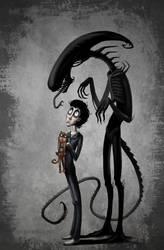 Ripley, Jonesy and Xenomorph by DynamoClock