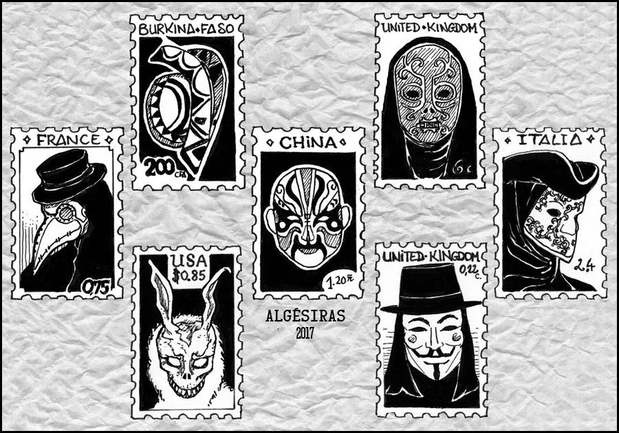 Inktober week 4: masks by Algesiras