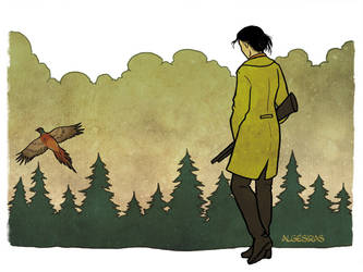 Chiyoh and the pheasant by Algesiras