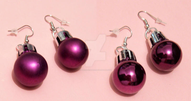Lilac Christmas Bauble Earring By PorcelinaZero