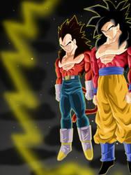 Goku + Vegeta ssj4 background by Barbicanboy