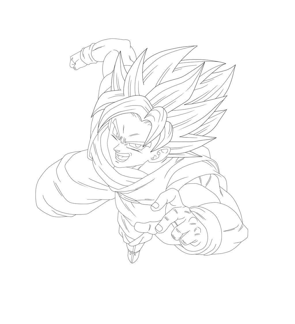 Goku Super Saiyan lineart by Barbicanboy on DeviantArt