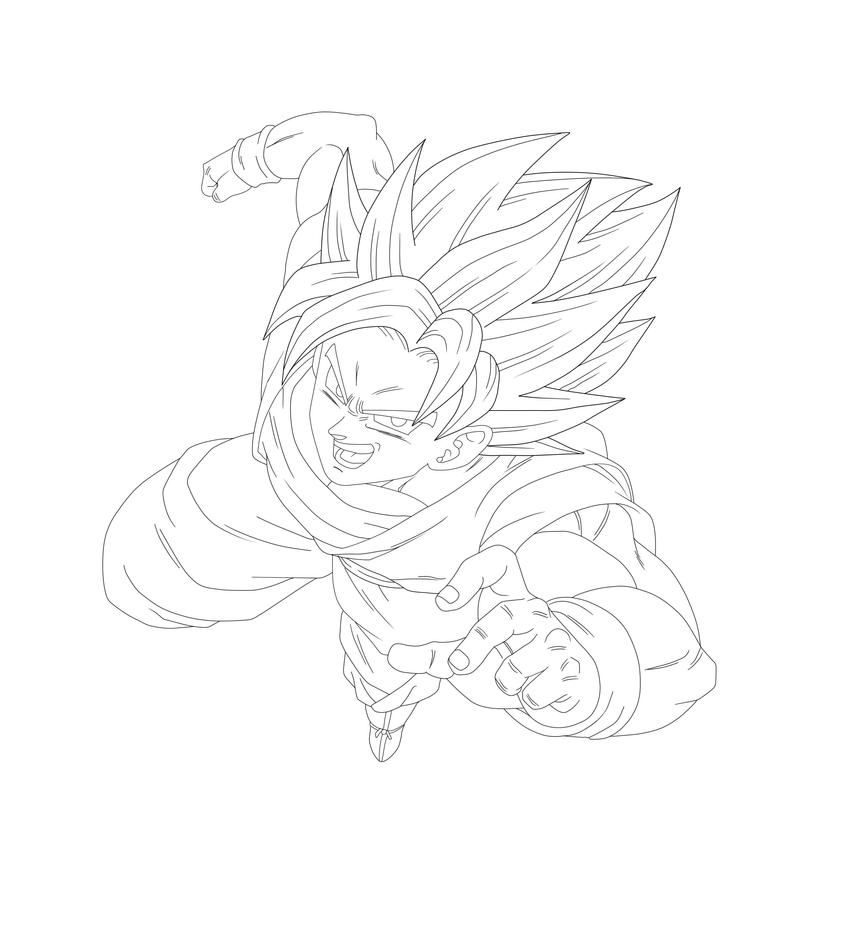 goku super saiyan lineart by barbicanboy on deviantart