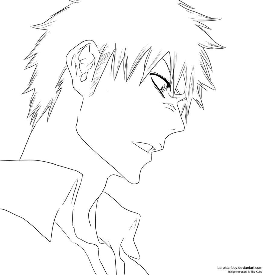 Angry ichigo 427 lineart by barbicanboy on deviantart for Ichigo coloring pages