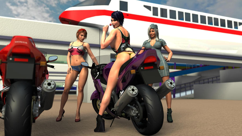 Girls and Motorcycles 1 by Apocalypse3DX
