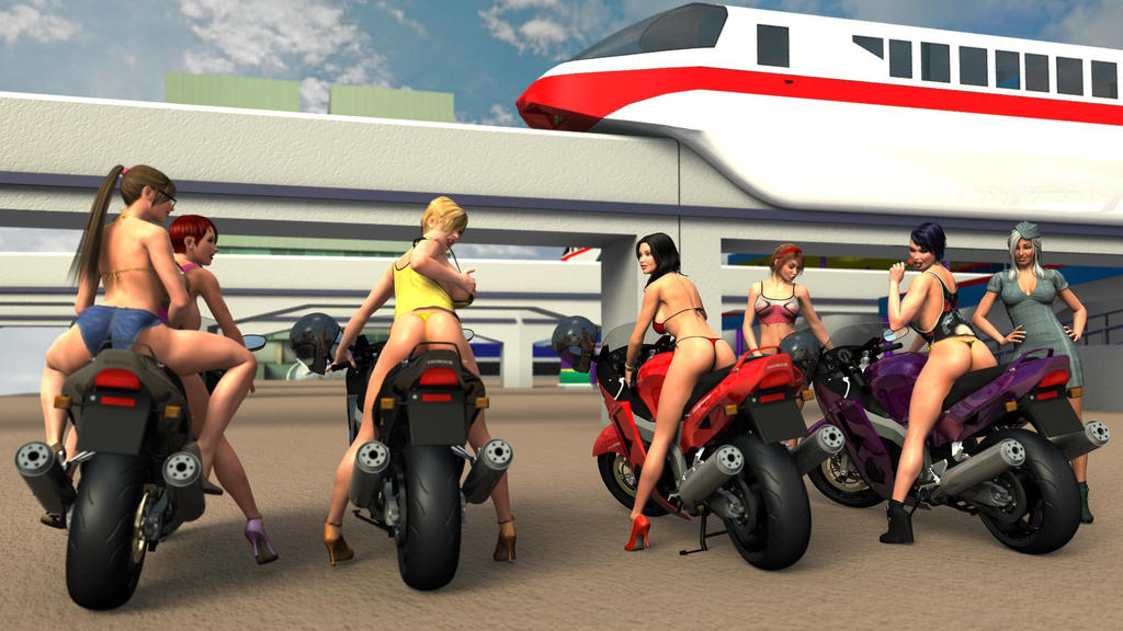 Girls and Motorcycles 2 by Apocalypse3DX