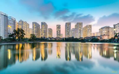 Crystal Blue. Hanoi City in blue hour