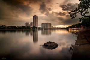 Citrine. Hanoi view after a sundden storm