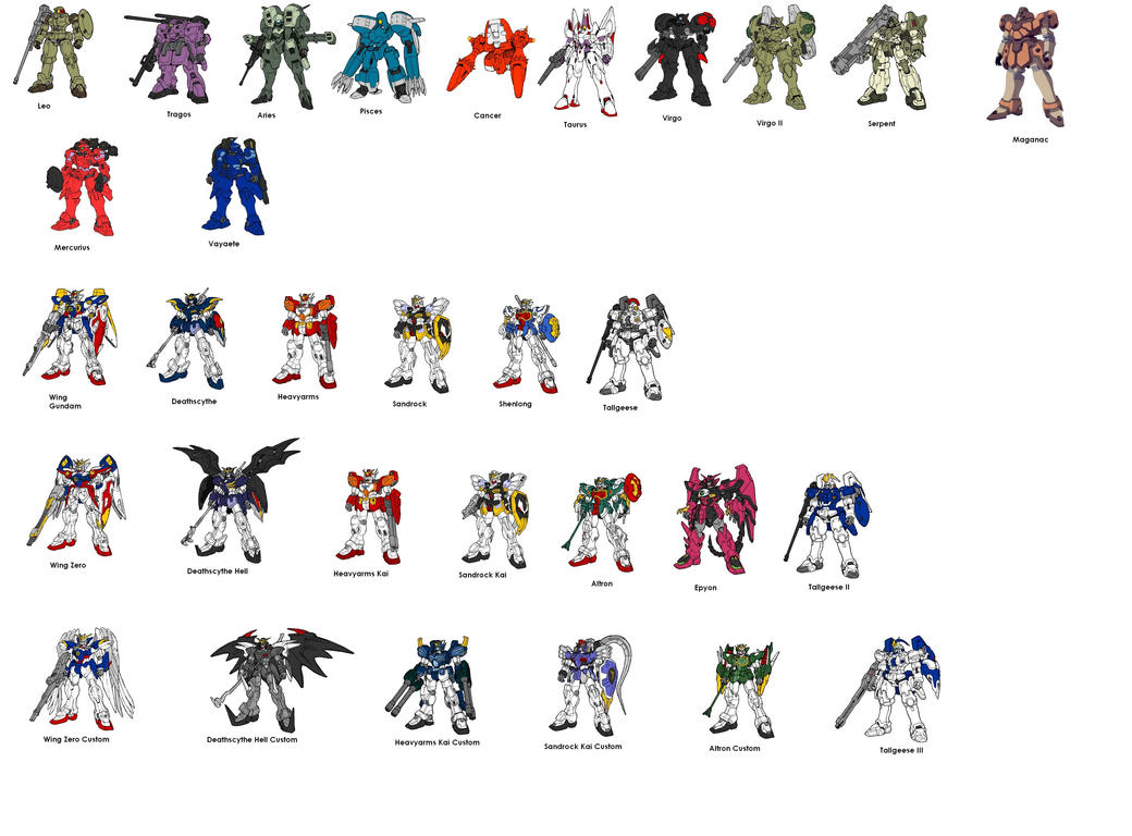 Gundam Wing: Every Mobile Suit by Wing-Zero-Alchemist