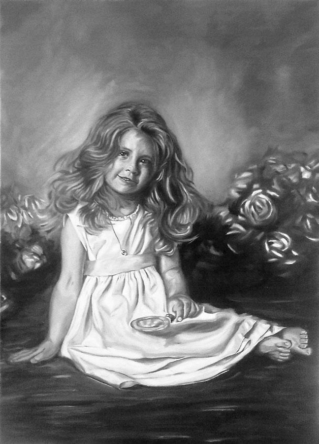 Black and white little girl