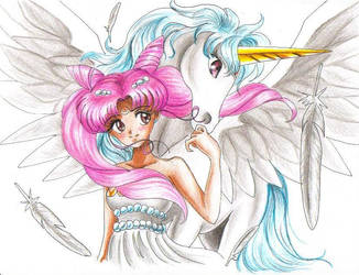 Chibi Usa and Pegasus by spartanlily