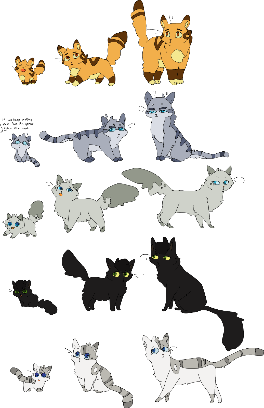 The gallery for warrior cats lineart family for Nifty family