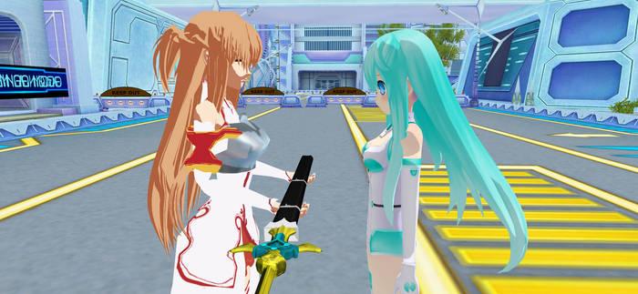 Mmd: Asuna give Aliza-Chan a sword to defend
