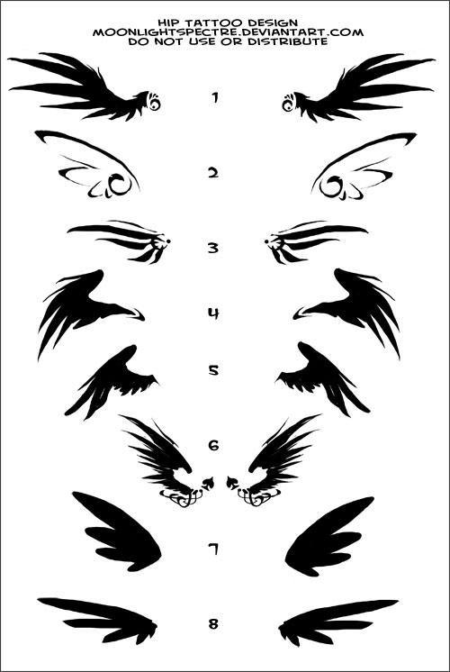 Little Wings Hip Tattoo by MoonLightSpectre