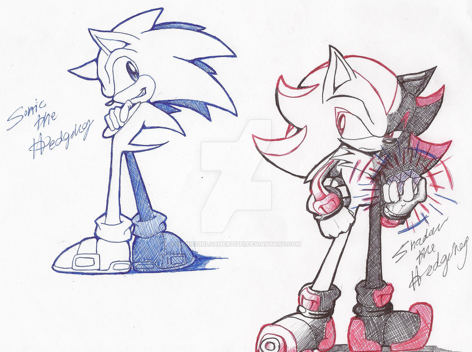 Sonic and Shadow PenDrawing by SonicGirlGamer71551 on DeviantArt