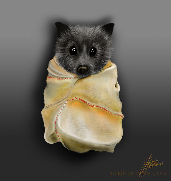 Sketch - Baby Fruit Bat by JaimeGervais