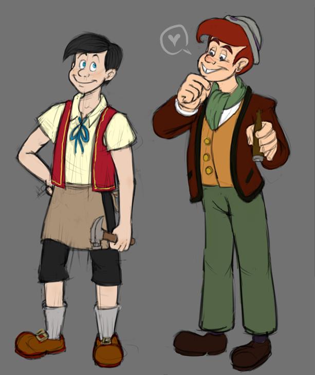 Older Pinocchio and Lampwick by badboyLampwick