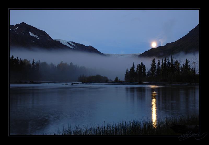 Moon over Exit Glacier by tisbone