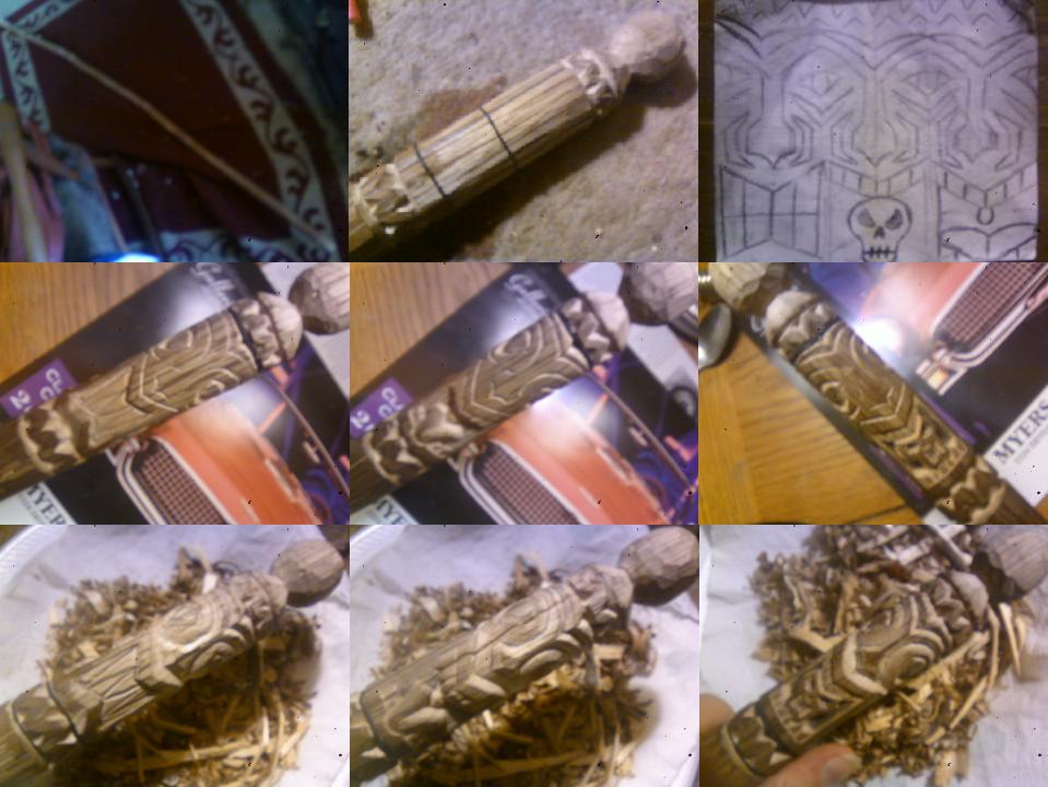 My Handcarved, Butterfly Warclubs {plural} Tiki_walking_stick_hiking_staff_by_gadgetsmith-d5yfcja
