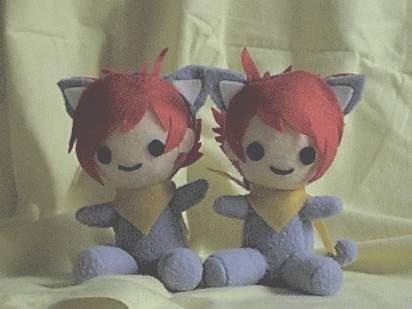 Hikaru + Kaoru Kitty plushies by Aiko-Yamada