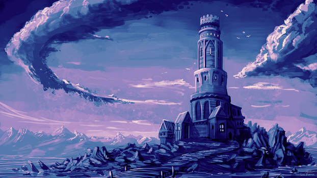 Tower on a rocky island - Commission