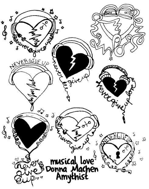 Musical Love Tattoo Flash by amythist