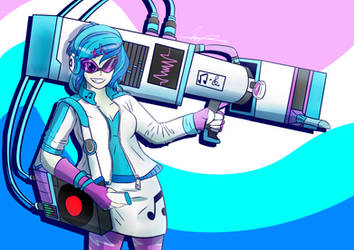 FAN ART: DJ Pon-3 and Bass Cannon (Speed Draw) by MantarWolf