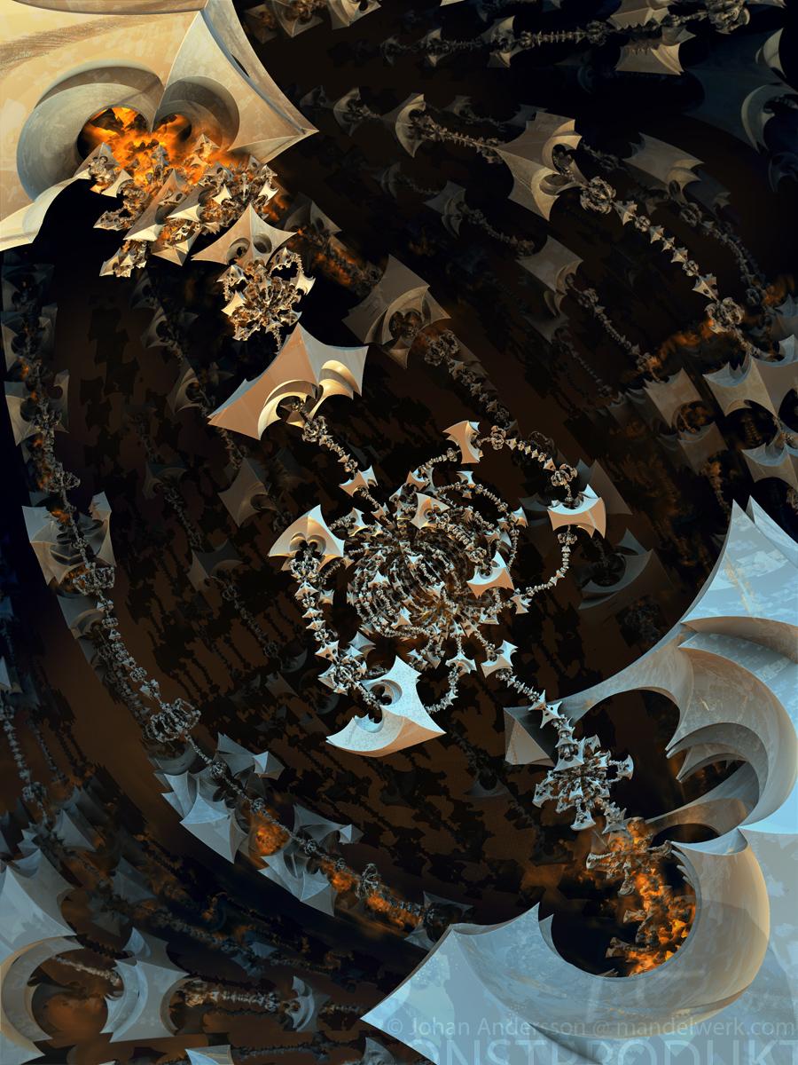 The ever revolving skeletal totem chandelier by MANDELWERK