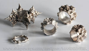 3D printed Fractal Silver Ring Collection