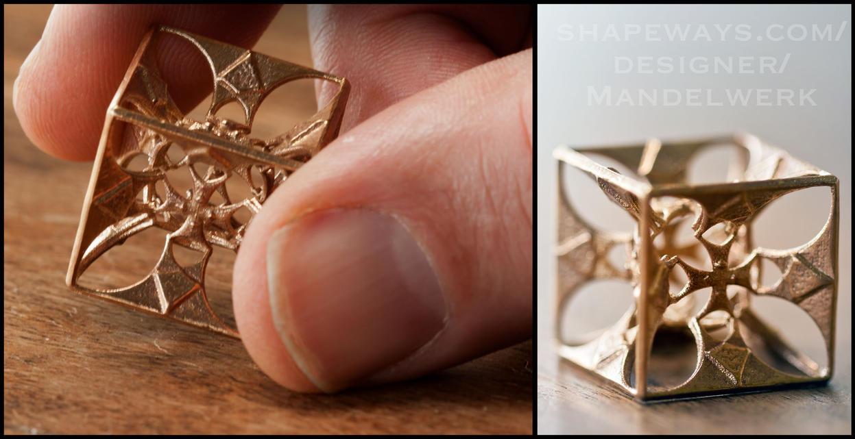 Hyper Maltese Fractal Cross - 3D printed in Bronze by MANDELWERK