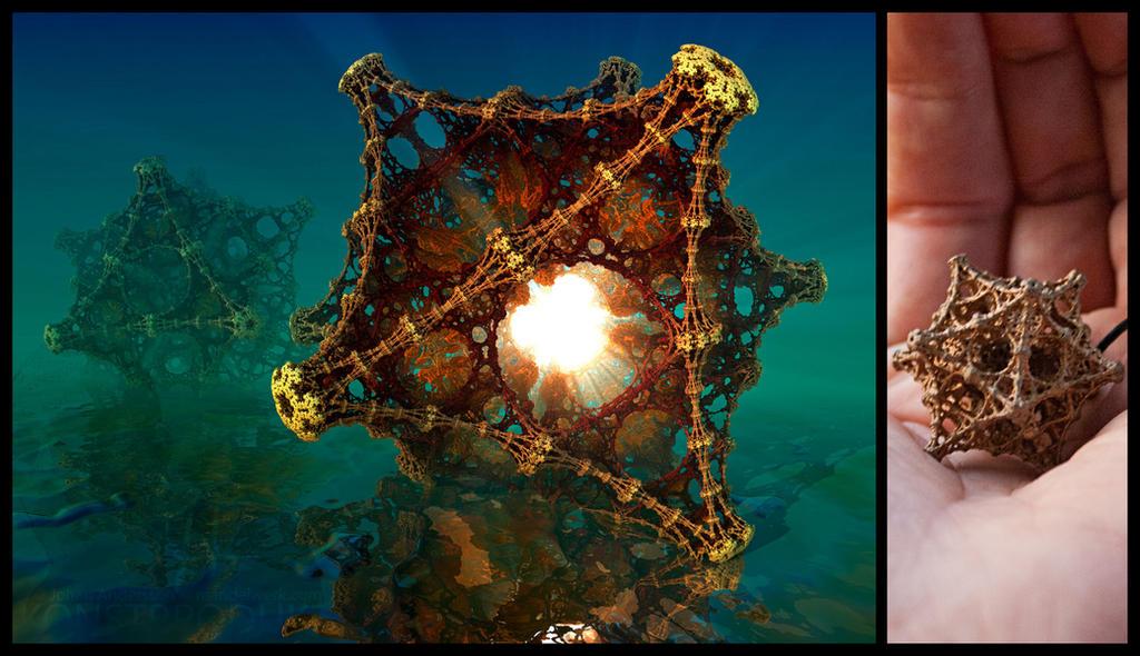 Kaleidoscopic Fractal Virus - 3D printed in Bronze by MANDELWERK