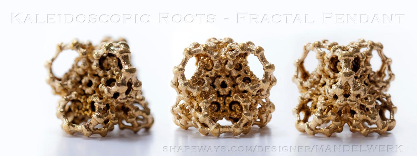Kaleidoscopic Roots - 3D printed Fractal Pendant by MANDELWERK