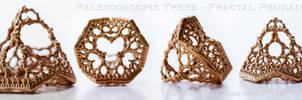 Kaleidoscopic Trees Pendant - 3D printed in Bronze