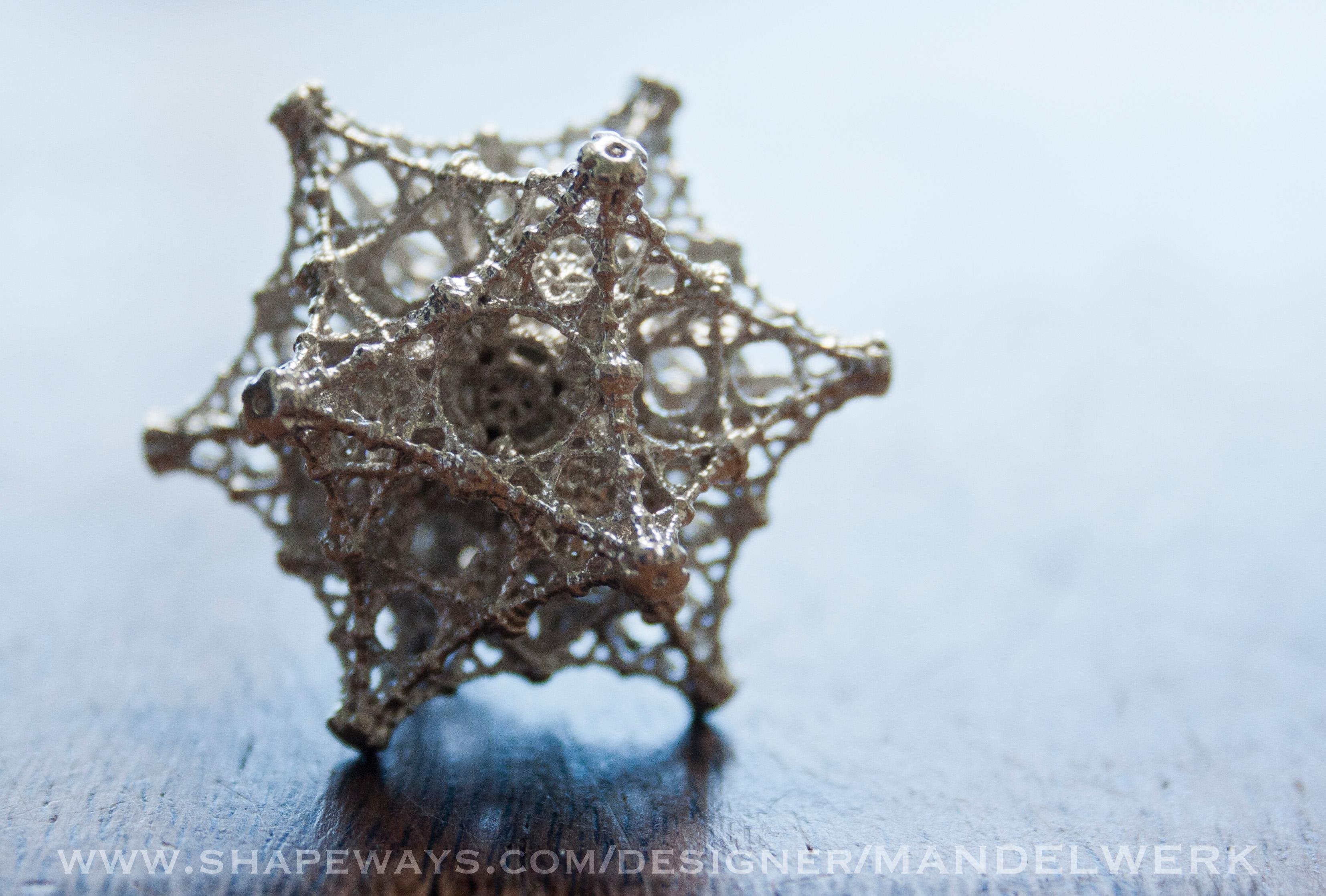 Kaleidoscopic Fractal Virus Pendant Silver