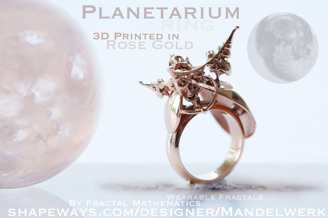 3D Printed - PLANETARIUM Ring - Rose Gold Plated by MANDELWERK