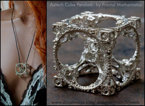 Aztech Cube Pendant 3D printed in Sterling Silver