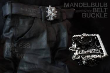 MANDELBULB BELT BUCKLE - 3D printed in STEEL by MANDELWERK