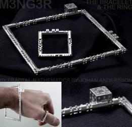 M3NG3R BRACELET and RING - 3D printed in SILVER by MANDELWERK