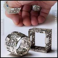 Menger Matrix Rings - Sterling Silver