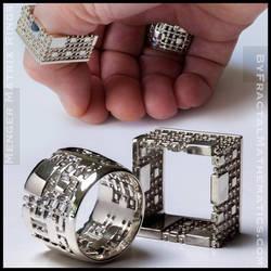 Menger Matrix Rings - Sterling Silver by MANDELWERK