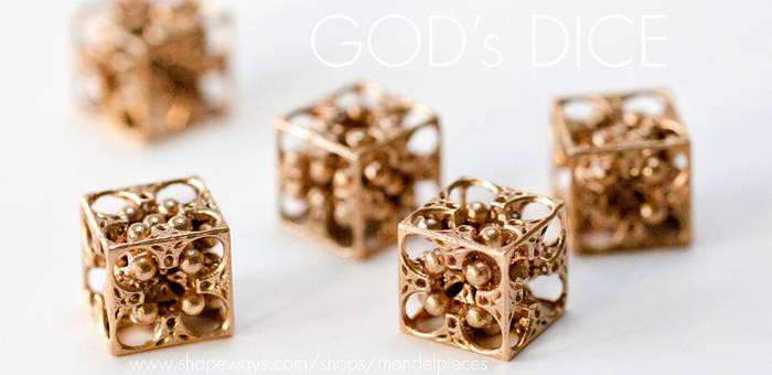 Gods Dice - 3D printed Bronze Jewelry under $50