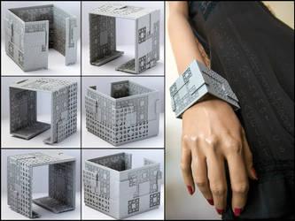 Menger Matrix Cuff Bracelet - 3D printed fractal by MANDELWERK