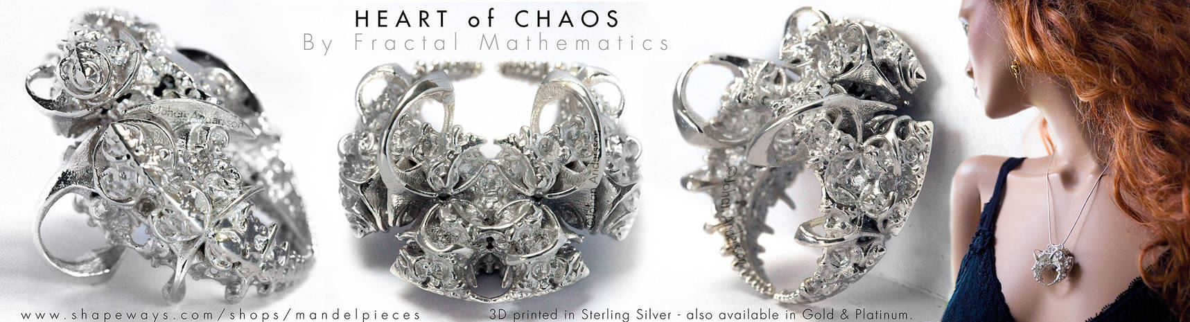 Heart of Chaos - Fractal Pendant - Sterling Silver