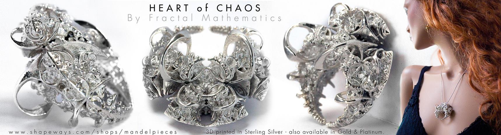 Heart of Chaos - Fractal Pendant - Sterling Silver by MANDELWERK